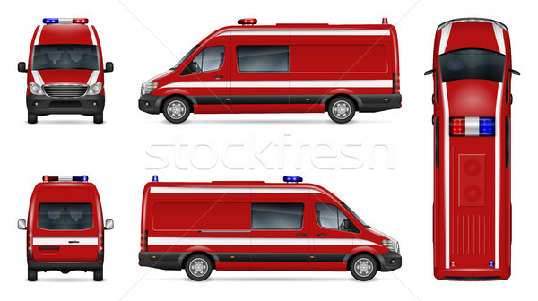 Realistic fire van vector illustration Stock photo © YuriSchmidt
