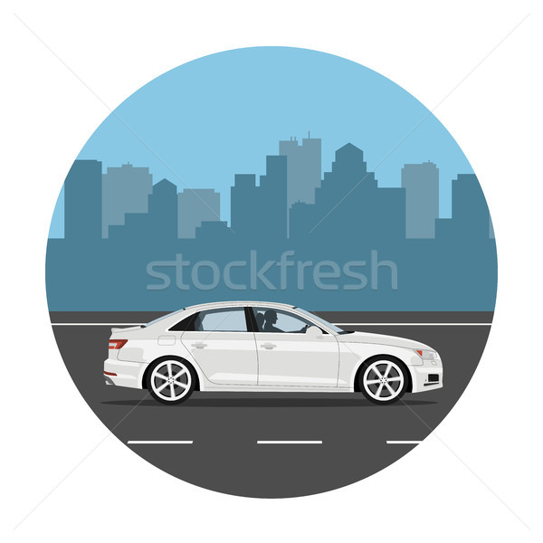 Car on the city background Stock photo © YuriSchmidt