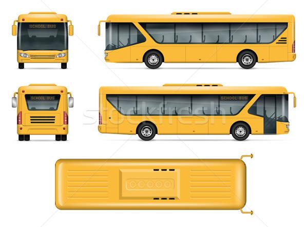 Yellow school bus vector mockup Stock photo © YuriSchmidt