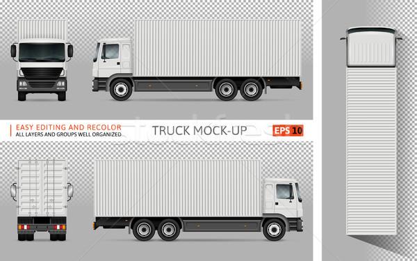 Foto stock: Caminhão · vetor · recipiente · publicidade · corporativo