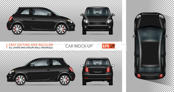 Black mini car vector illustration. Stock photo © YuriSchmidt
