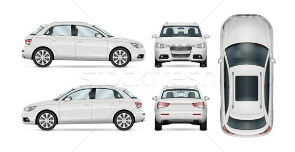 White SUV vector template Stock photo © YuriSchmidt
