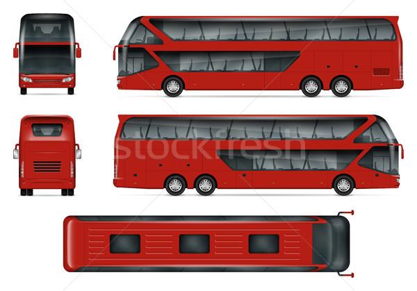 Kırmızı otobüs vektör yalıtılmış şablon Stok fotoğraf © YuriSchmidt