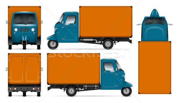 Vektör üç kamyon reklam Stok fotoğraf © YuriSchmidt