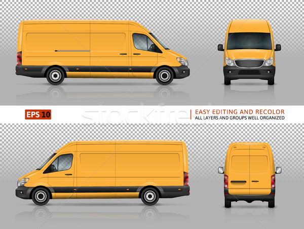 Amarillo van plantilla vector coche branding Foto stock © YuriSchmidt