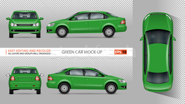 Green car vector mockup Stock photo © YuriSchmidt