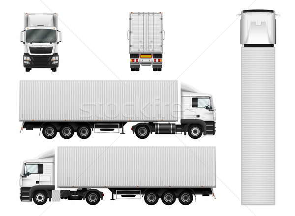 Vector semi truck template with cargo container. Truck trailer i Stock photo © YuriSchmidt
