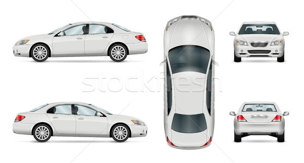 White vector car. Isolated sedan template Stock photo © YuriSchmidt