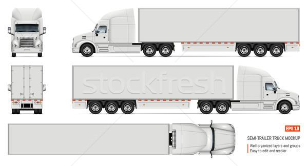 Realistic white truck vector illustration Stock photo © YuriSchmidt