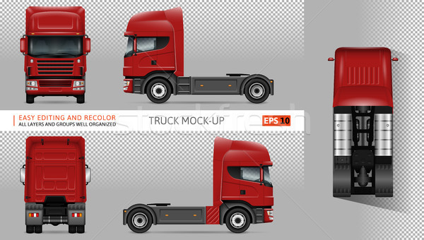 Red truck vector mockup. Stock photo © YuriSchmidt