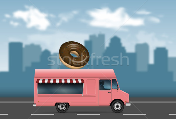 Pink food truck vector illustration Stock photo © YuriSchmidt