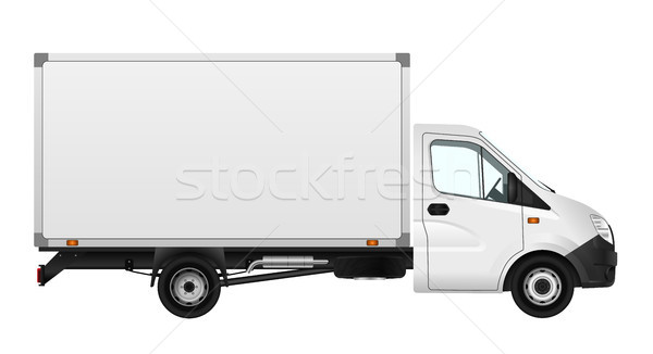 Stock photo: Cargo van vector illustration on white. City commercial minibus