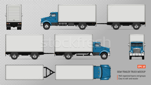 Truck with trailer vector mockup. Stock photo © YuriSchmidt