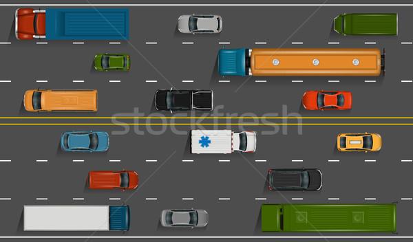 Samochody drogowego wektora pojazdy autostrady ilustracja Zdjęcia stock © YuriSchmidt