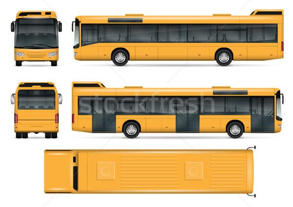 Sarı otobüs vektör şablon yalıtılmış Stok fotoğraf © YuriSchmidt