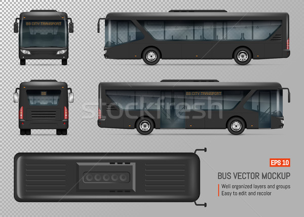 Black Bus Vector Template Stock photo © YuriSchmidt