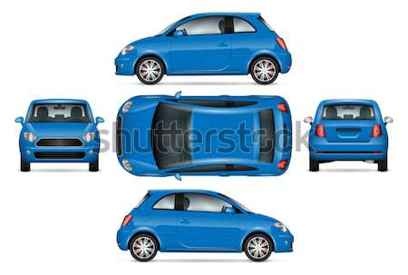 Blue mini car vector illustration. Stock photo © YuriSchmidt