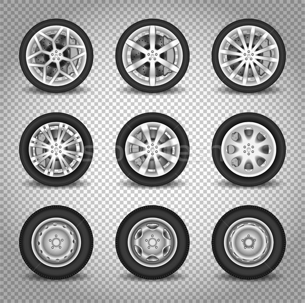 Car wheels set Stock photo © YuriSchmidt