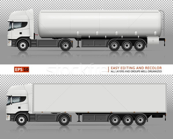 Trucks vector mock-up. Stock photo © YuriSchmidt