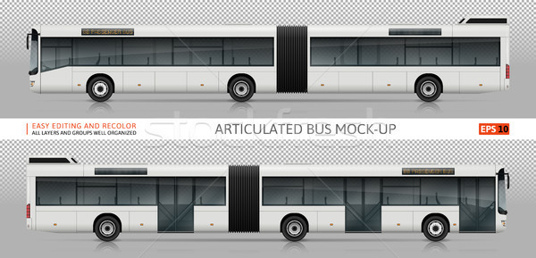 Articulated bus vector mock-up Stock photo © YuriSchmidt