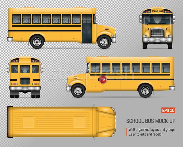 Iskolabusz vektor vázlat izolált sablon citromsárga Stock fotó © YuriSchmidt