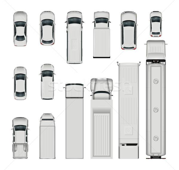 Vetor carros topo ver isolado realista Foto stock © YuriSchmidt