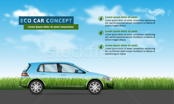 Eco car on the nature background Stock photo © YuriSchmidt