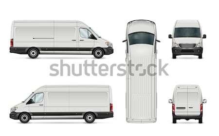 Biały van szablon odizolowany handlowych pojazd Zdjęcia stock © YuriSchmidt