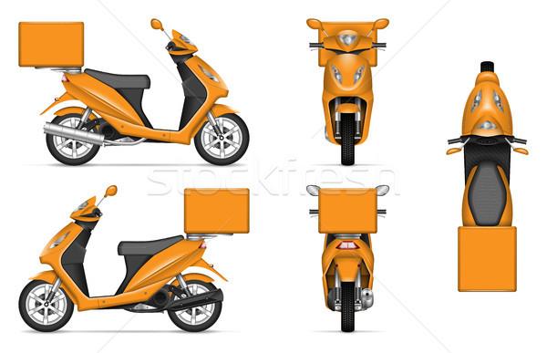 Laranja motocicleta entrega vetor Foto stock © YuriSchmidt