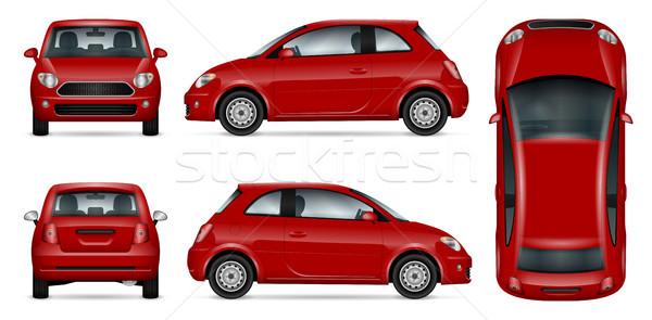 Stock fotó: Piros · mini · autó · vektor · vázlat · hirdetés