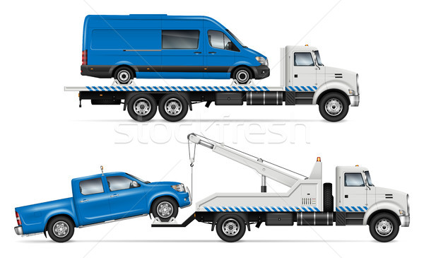 White Tow trucks vector from side view Stock photo © YuriSchmidt