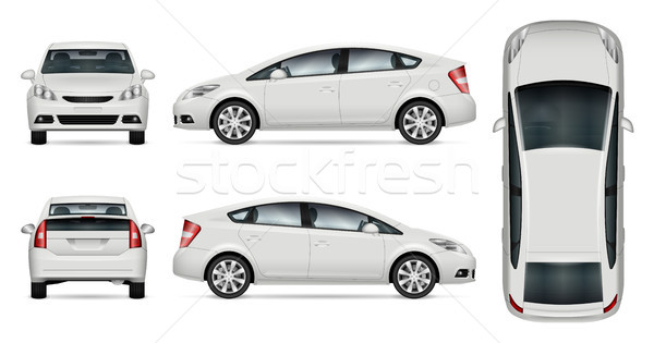White car vector mockup Stock photo © YuriSchmidt