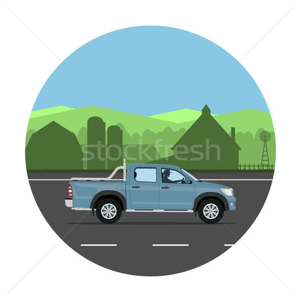 Caminhão estrada aldeia homem condução carro Foto stock © YuriSchmidt