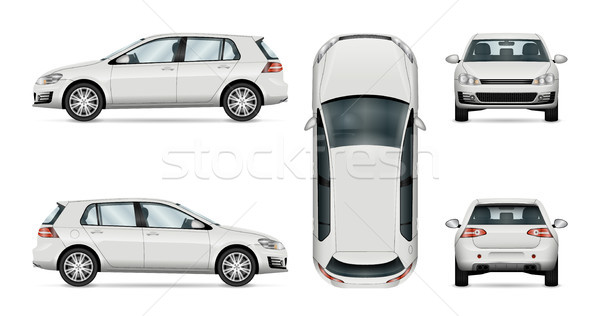 Hatchback car vector template on white background. Stock photo © YuriSchmidt