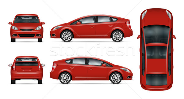 Red car vector template. Stock photo © YuriSchmidt