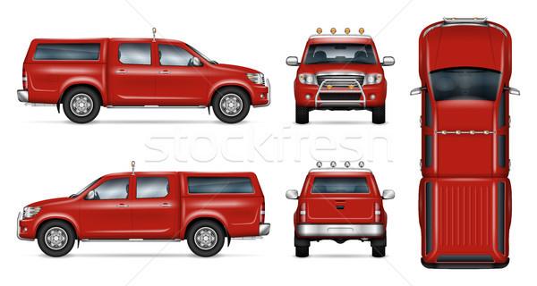 Red pickup truck vector template Stock photo © YuriSchmidt