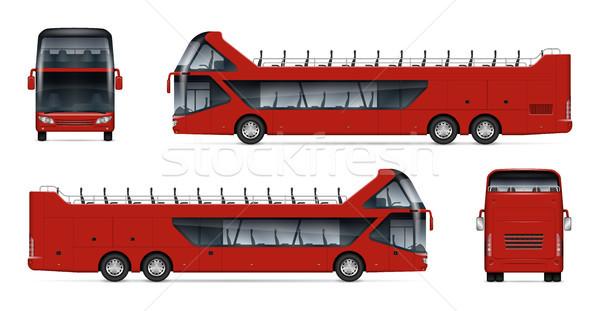 Сток-фото: реалистичный · путешествия · автобус · иллюстрация · открытых · тур