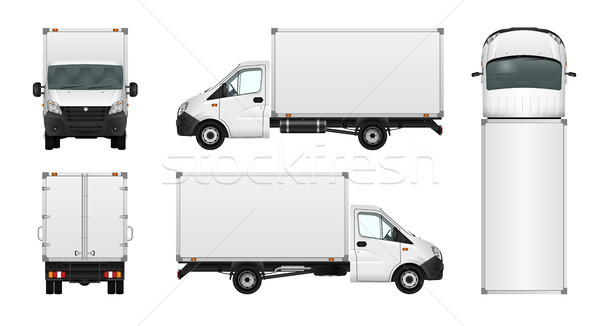 Photo stock: Fret · van · blanche · ville · commerciaux · minibus