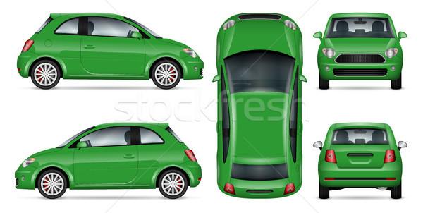 Green mini car vector illustration. Stock photo © YuriSchmidt