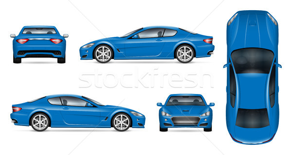 Blue sports car realistic vector illustration Stock photo © YuriSchmidt