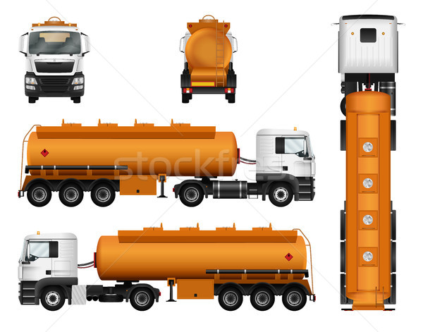 Truck trailer vector template. Fuel gas tanker. Isolated car on  Stock photo © YuriSchmidt
