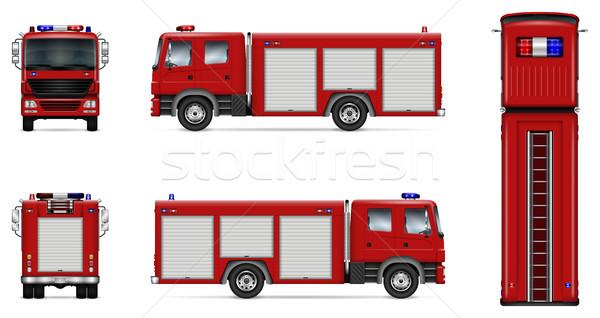 Red fire truck vector mockup Stock photo © YuriSchmidt