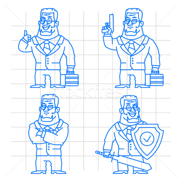 Guard doodle concept set 2 Stock photo © yuriytsirkunov
