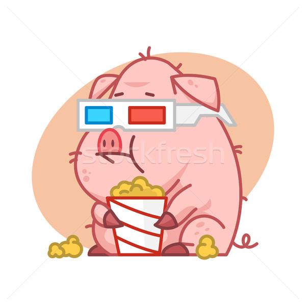 Stok fotoğraf: Domuz · karakter · 3d · gözlük · yeme · patlamış · mısır · örnek