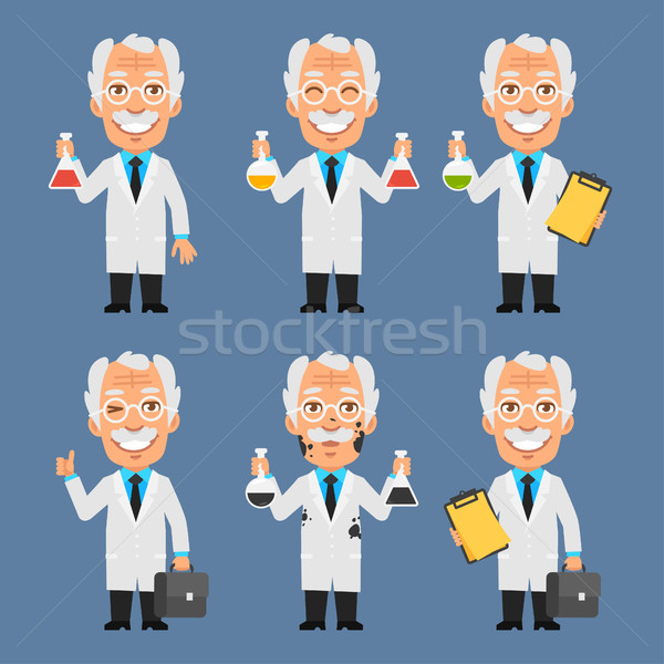 Old Professor Holds Board Test Tubes Stock photo © yuriytsirkunov