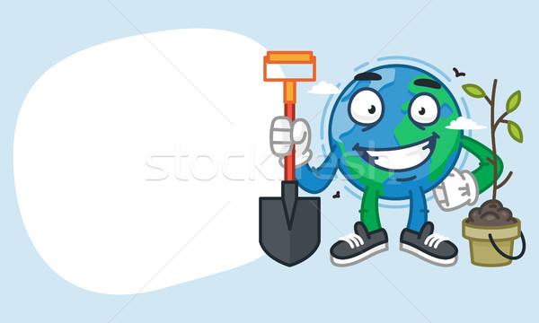 Terre personnage pelle souriant mascotte Photo stock © yuriytsirkunov