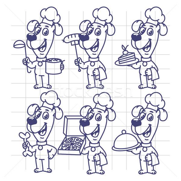 Stock fotó: Rajz · szett · betűk · kutya · szakács · tart