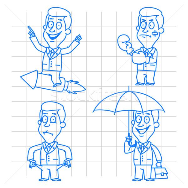 Businessman in various poses doodle Stock photo © yuriytsirkunov