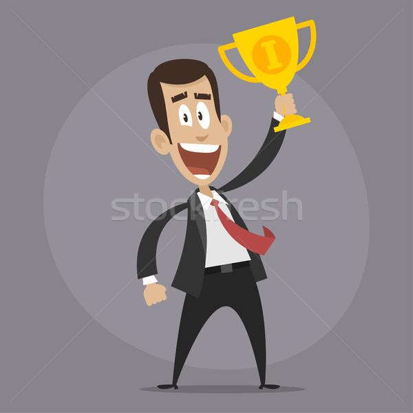 Character businessman winner holds cup Stock photo © yuriytsirkunov