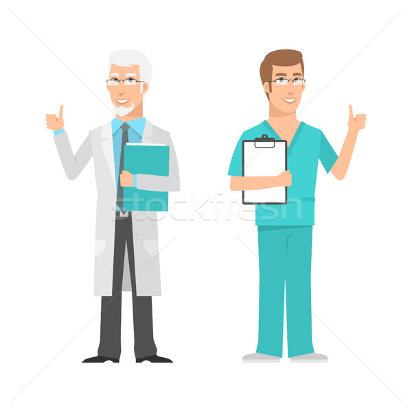 Males scientist and doctor showing thumbs up Stock photo © yuriytsirkunov